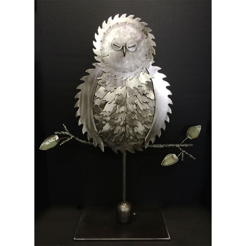 Barn Owl Asleep metal sculpture