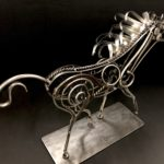"Jenny, Scrap Metal Horse, $350, available at Noyes Art Gallery, 119 S. 9th, Lincoln, NE, 402-475-1061. 27"" x 18"" x 7"".  11 lbs."