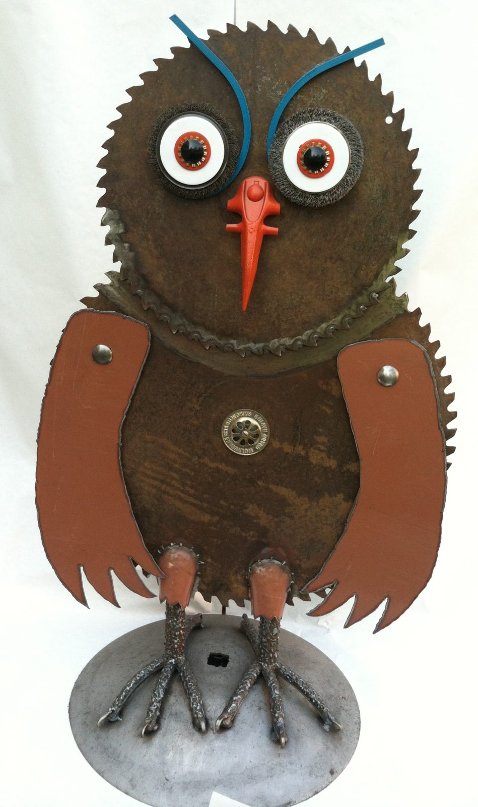 Big Sawblade Owl Sculpture
