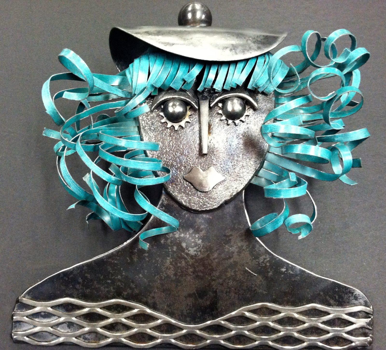 Bridgette Sculpture of a woman with blue hair