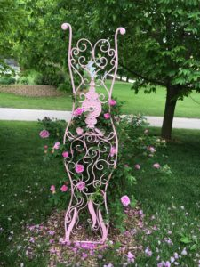 "Prom Dress Trellis II. $245. 64.5"" x 15.5"" x 24"". Available at Noyes Art Gallery, 119 S. 9th, Lincoln, NE 68508, 402-475-1061."