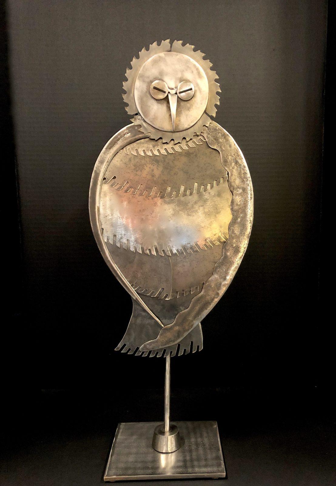 Praying Owl metal sculpture