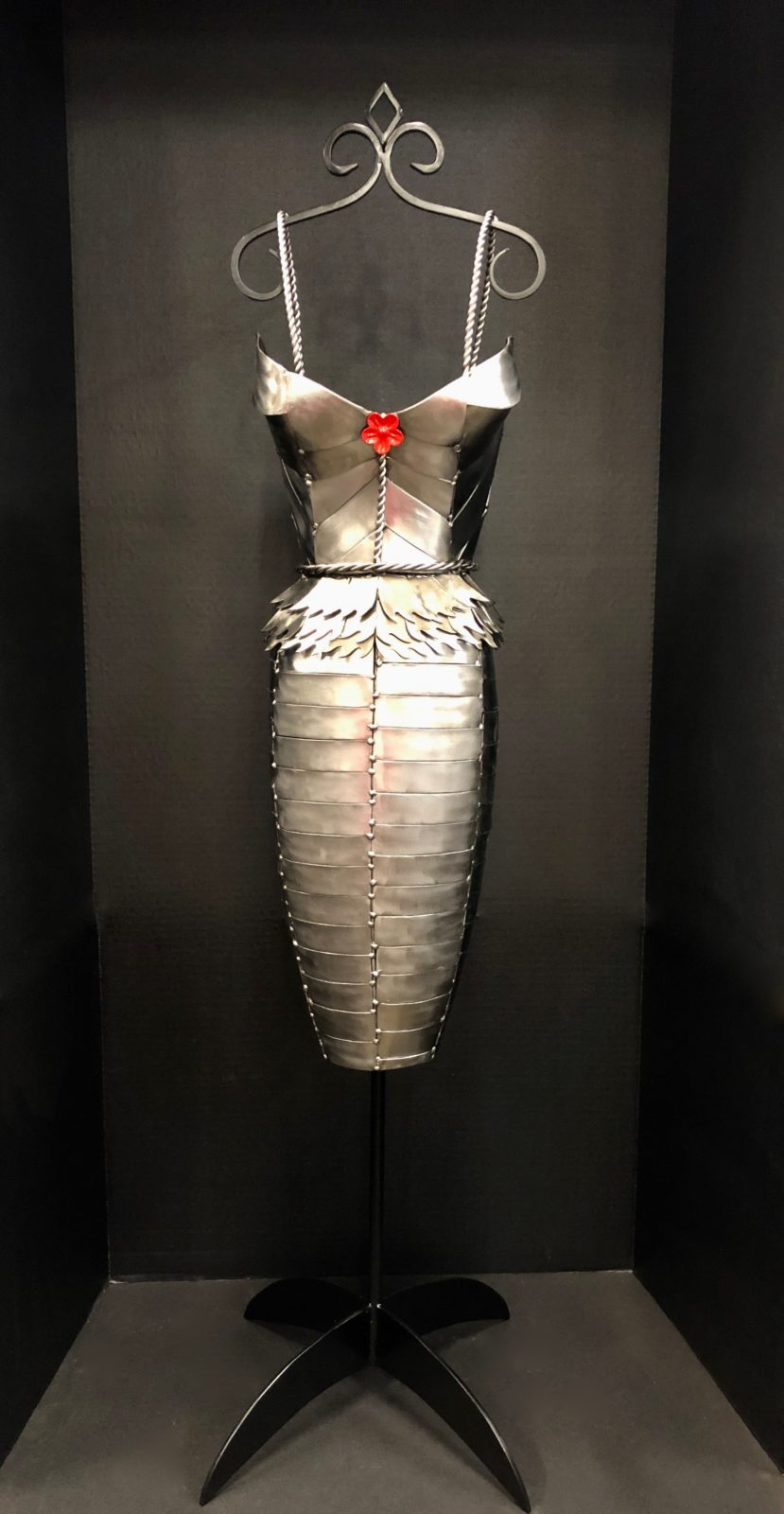 Marceline's Champagne Dress metal sculpture