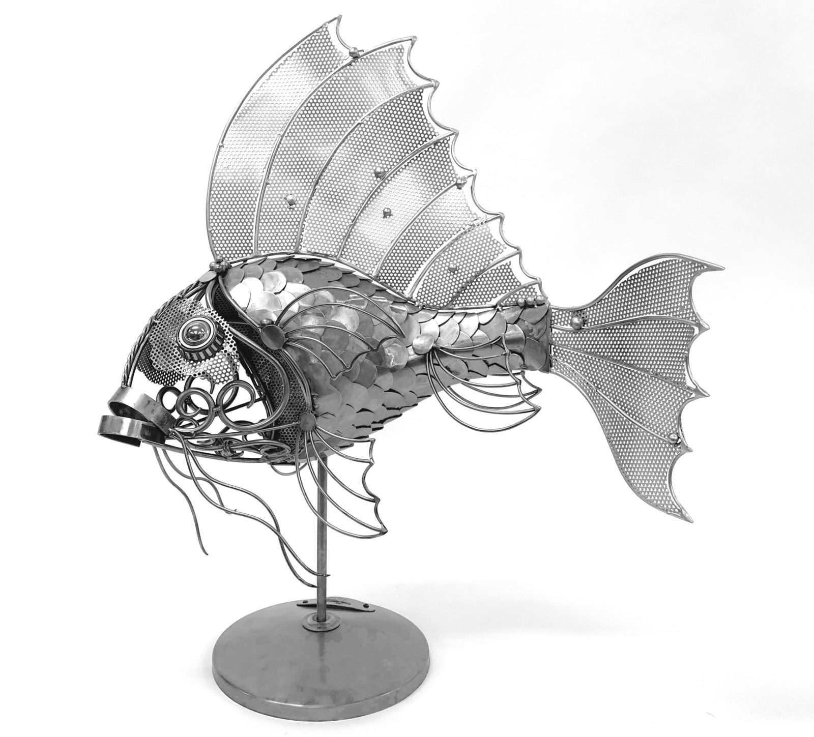 Gold fish metal sculpture