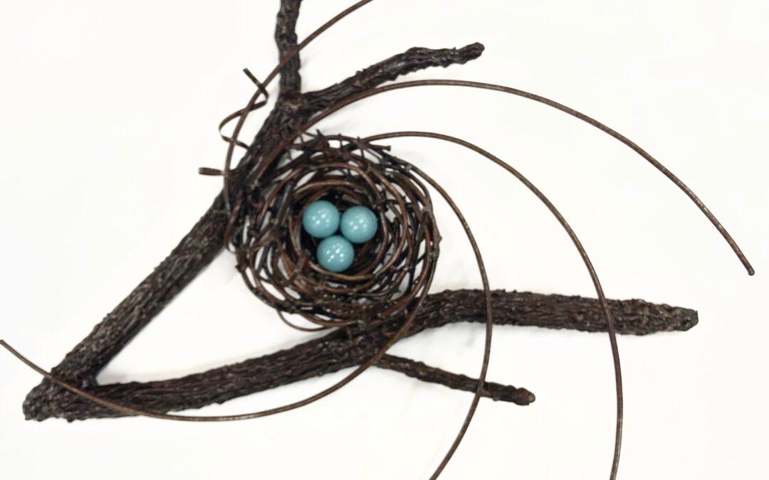 3 Blue Eggs Bird's Nest – SOLD